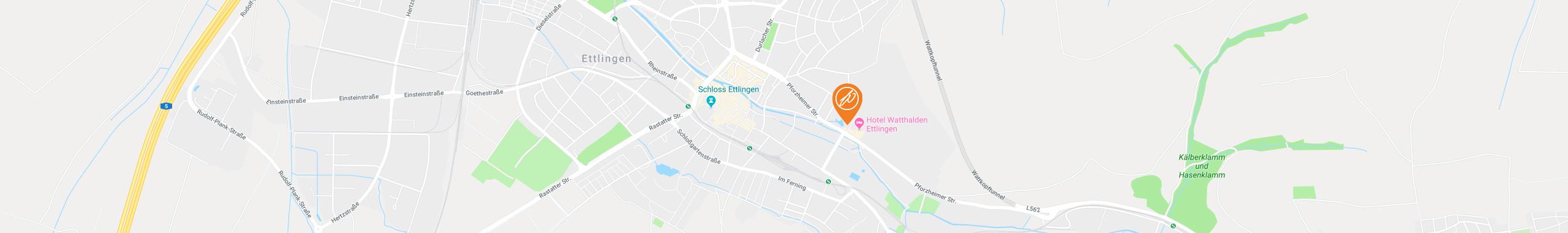 Ihr Weg zur WaTT's Brasserie und Bar in Ettlingen über Google Maps