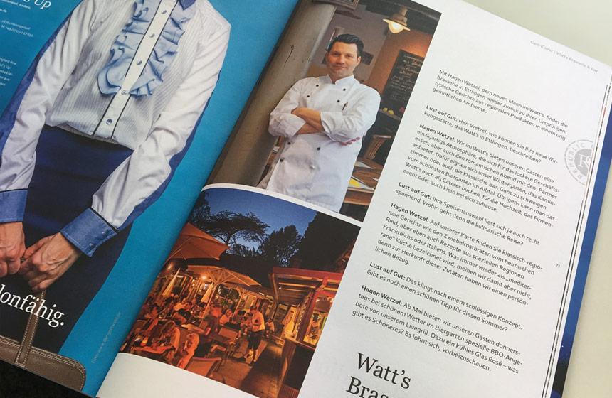 Die WaTT's Brasserie und Restaurant in Ettlingen im Magazin Lust auf gut